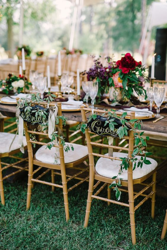 chiavari chair with greenery for a special touch